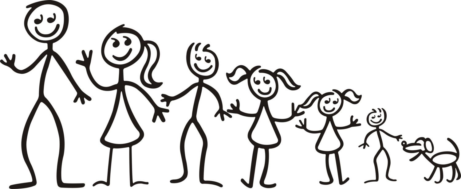 Family clipart 5 people stick people clip freeuse Family Stick Figures - ClipArt Best | Tattoos | Family stickers ... clip freeuse