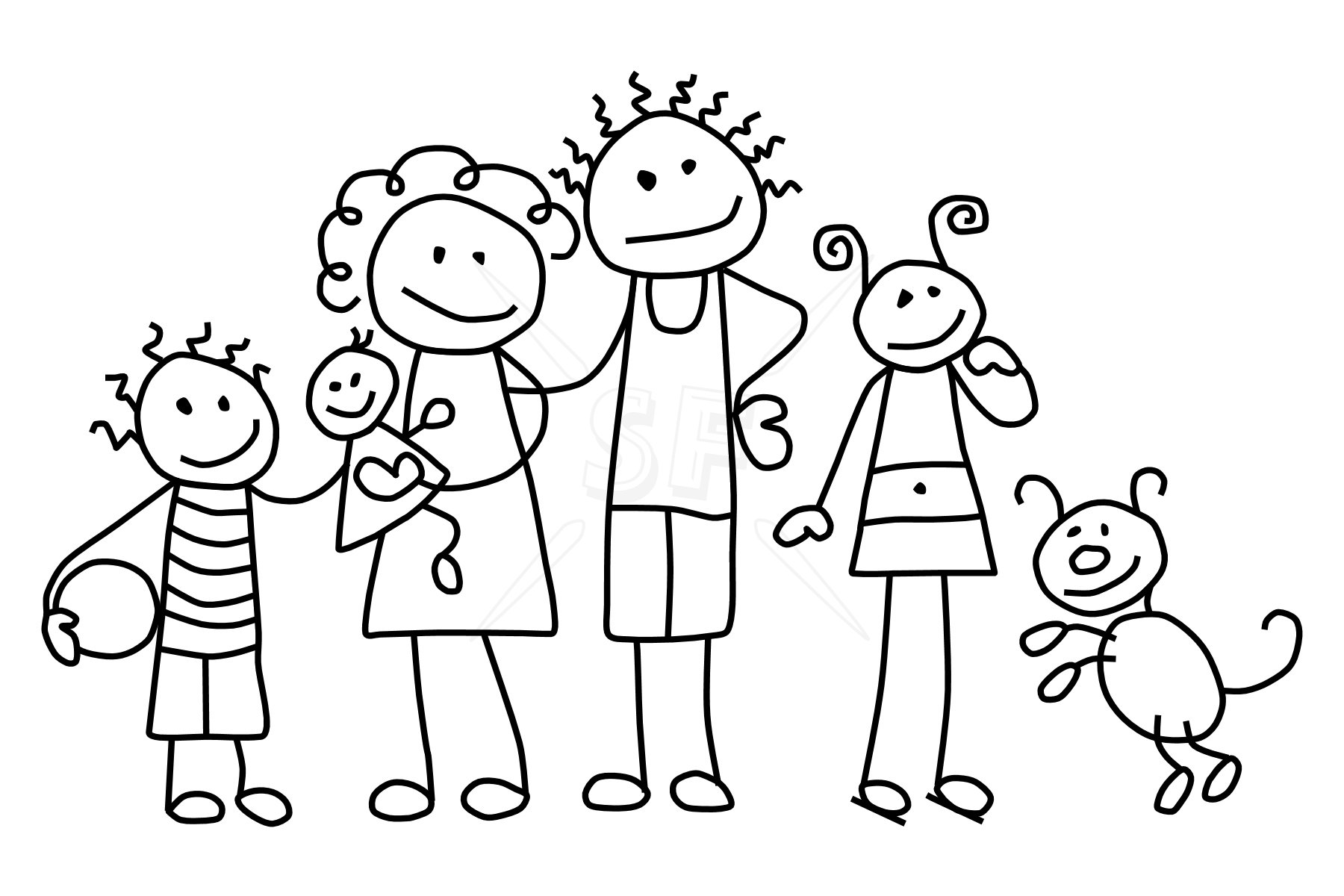Family of 4 black and white clipart png download Family clipart free clipart image 4 - Cliparting.com png download