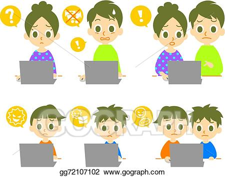 Family computer clipart image library download Vector Illustration - Computer family computer viruses. EPS Clipart ... image library download