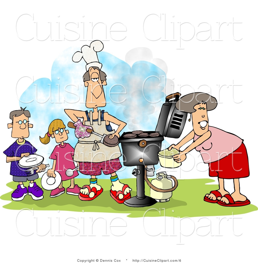 Family cooking clipart clip art transparent library Cuisine Vector Clipart of a Family Cooking at a Barbeque by djart - #6 clip art transparent library