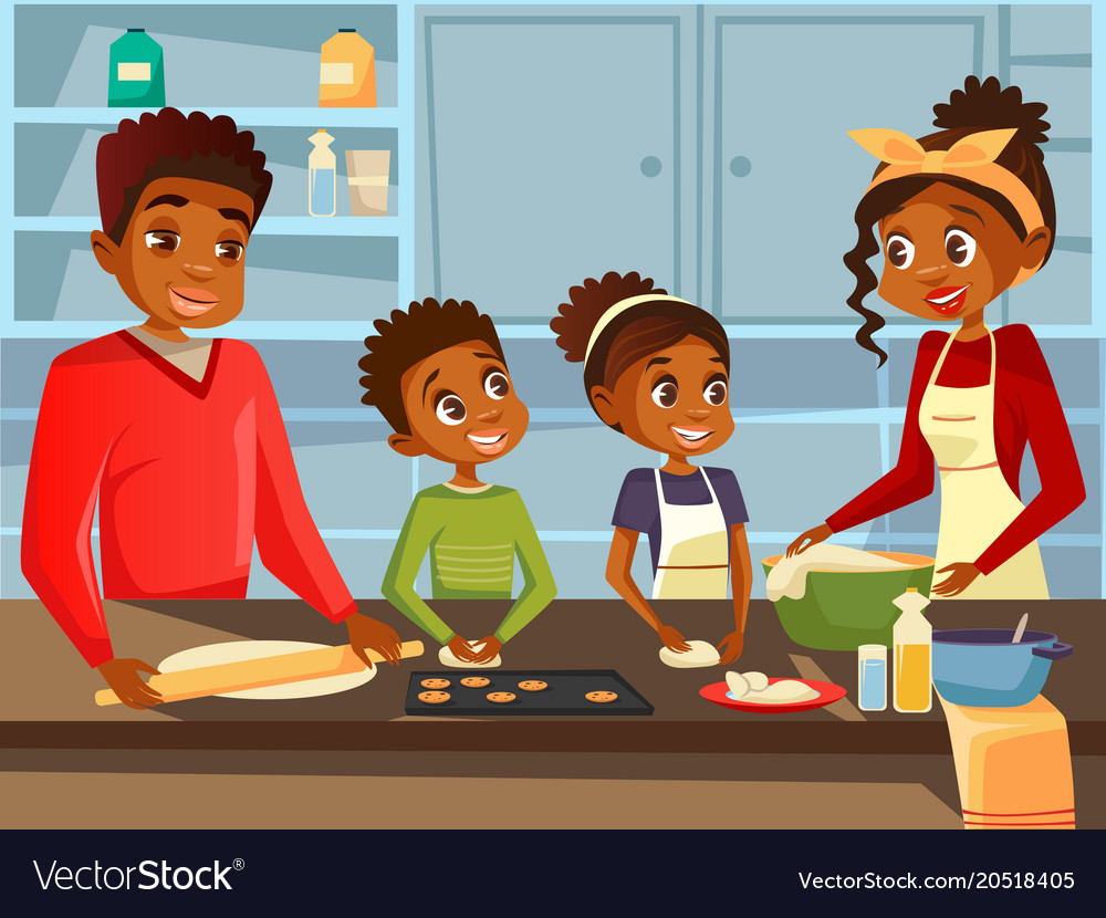 Family cooking clipart clip art transparent download Afro american black family cooking together at clip art transparent download