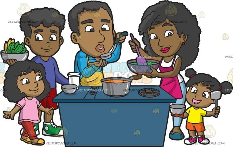 Black family eating together clipart svg freeuse library cooking Men Families - A Black Family Cooking A Meal Together ... svg freeuse library