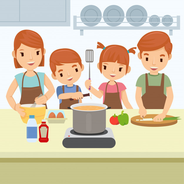 Family cooking clipart clipart transparent Happy family are cooking in kitchen on sunday morning Vector ... clipart transparent