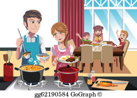 Family cooking clipart svg free stock Family Cooking Clip Art - Royalty Free - GoGraph svg free stock