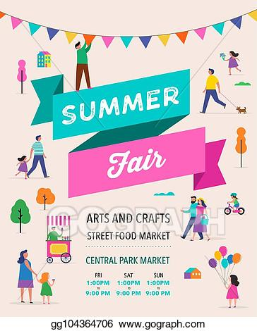 Family festival clipart png freeuse stock Vector Art - Summer fest, food street fair, family festival poster ... png freeuse stock