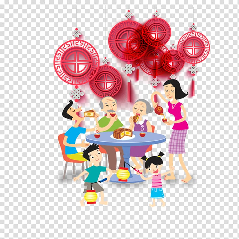 Family festival clipart clip Free download | Family eating cake art illustration, Mooncake Mid ... clip