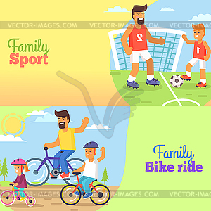 Family football clipart clipart library Family Football and Bike Riding with Dad and Kids - color vector clipart clipart library