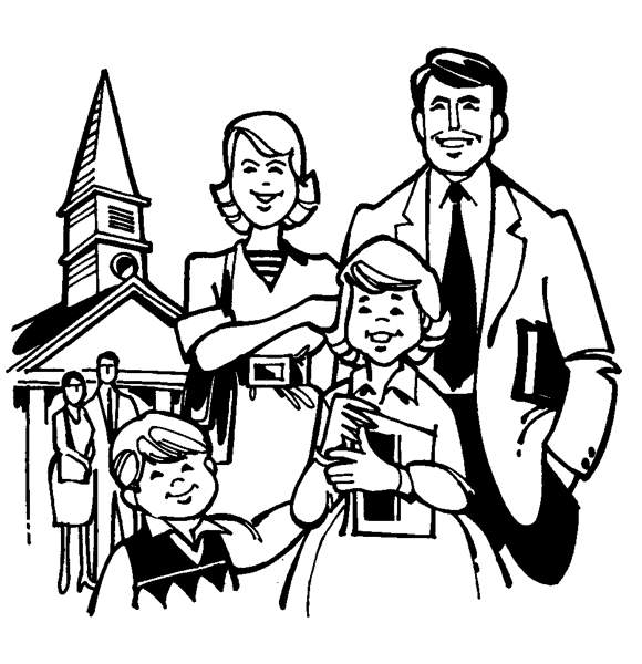 Family going to church together clipart black and white image library stock Free Christian Family Cliparts, Download Free Clip Art, Free Clip ... image library stock