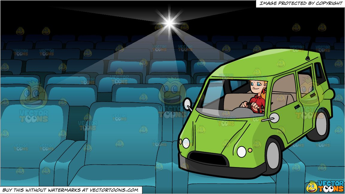 Family in car movie theater clipart clip art transparent A Woman Driving A Family Van and Inside A Movie Projection Theater clip art transparent