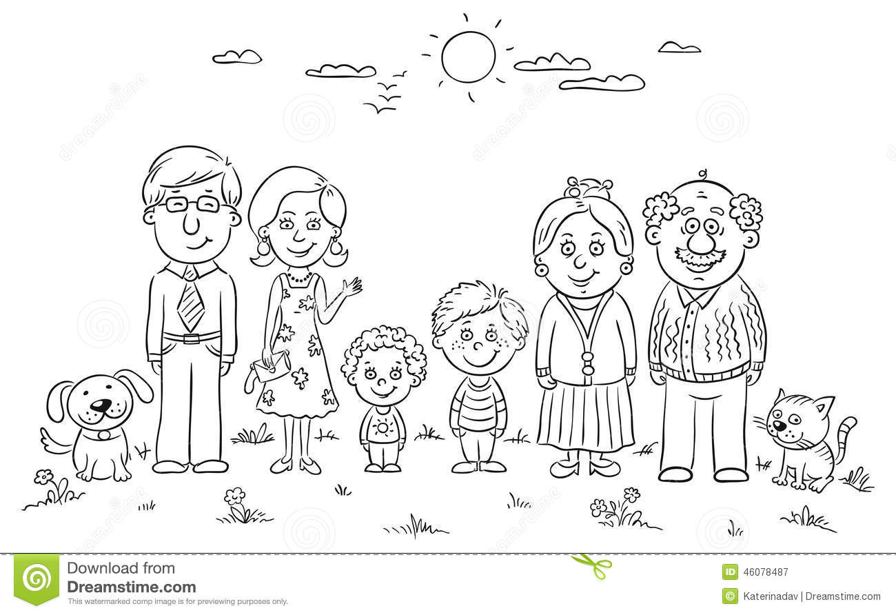 Family of 4 black and white clipart svg freeuse Family black and white clipart 4 » Clipart Station svg freeuse