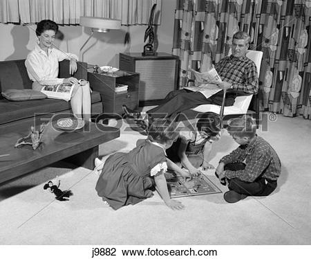Stock Photo of 1960S African-American Family 4 Living Room Father ... clip free stock