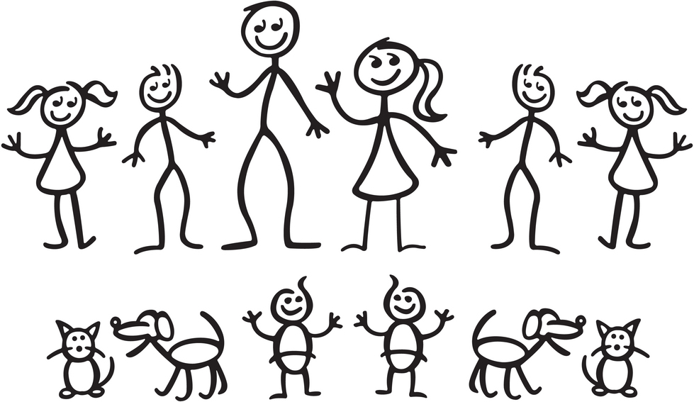 4 siblings clipart with 3 girls and 1 boy - ClipartFest graphic download