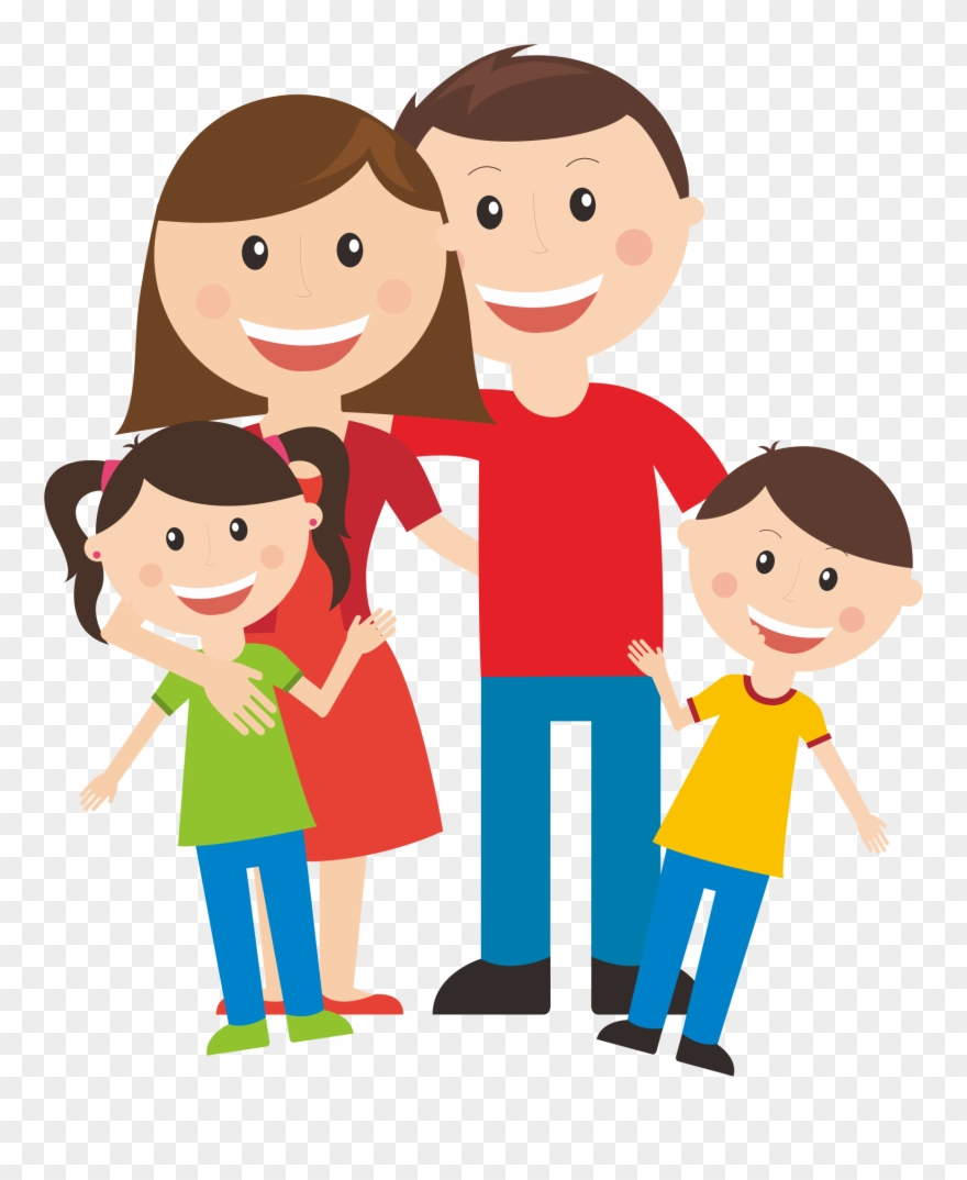 Family of four clipart image library download Community Clipart Existence - Family Of Four Cartoon Png Transparent ... image library download