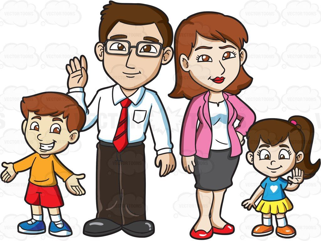 Family of four clipart freeuse A family of four, little son and daughter in casual clothes standing ... freeuse