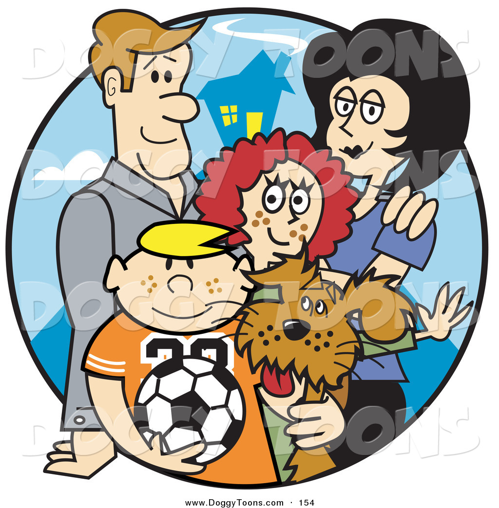 Family of four with dog clipart jpg download Doggy Clipart of a Happy Caucasian Family of Four with a Dog and a ... jpg download