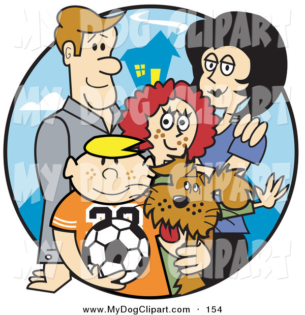 Family of four with dog clipart picture freeuse Clip Art of a Happy Family of Four with a Dog and a Soccer Ball on a ... picture freeuse