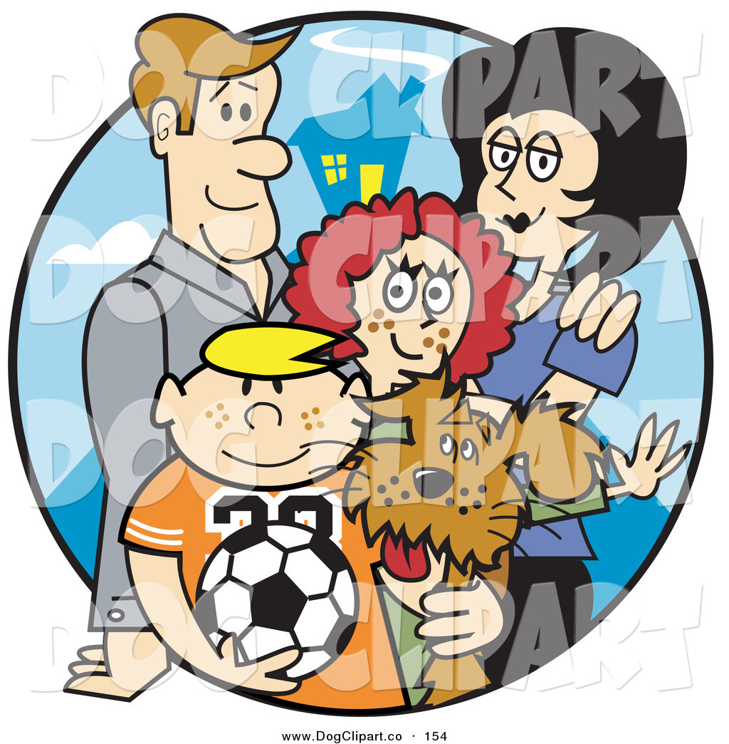 Family of four with dog clipart jpg royalty free library Vector Clip Art of a Happy Family of 4 with a Dog and a Soccer Ball ... jpg royalty free library