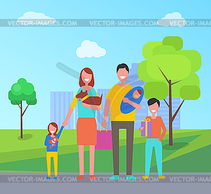 Family park clipart graphic royalty free Family Walk Outdoors in City Park. Mother with Dog - vector clip art graphic royalty free