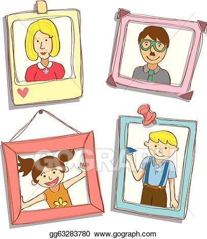 Family photo frames clipart clip library Vector Stock - Cute frame with family photo. Clipart Illustration ... clip library