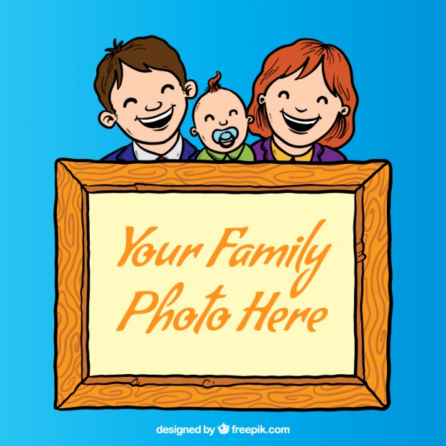 Family photo frames clipart black and white download Family photography frame Vector | Free Download black and white download
