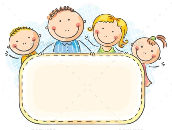 Family photo frames clipart clip art freeuse library Happy family with two children with a blank frame | Design Portfolio ... clip art freeuse library