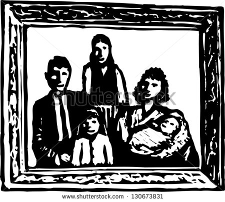 Family picture framed clipart black and white clip freeuse stock Family portrait clipart black and white 5 » Clipart Station clip freeuse stock