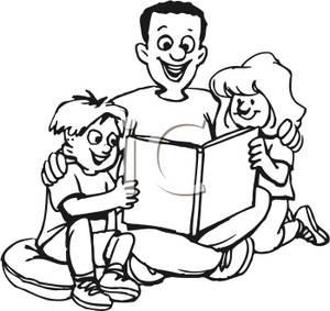 Family reading clipart black and white jpg black and white download Family Reading Together Clipart   Free download best Family Reading ... jpg black and white download