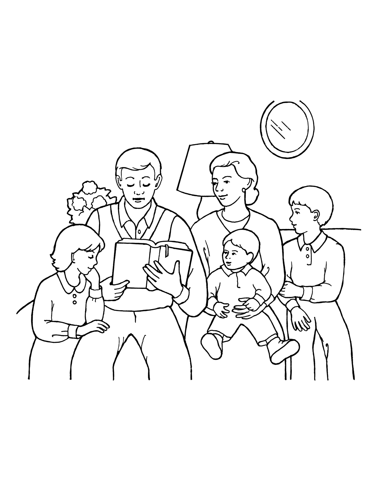 Family reading clipart black and white vector transparent stock Family Home Evening and Reading Scriptures vector transparent stock