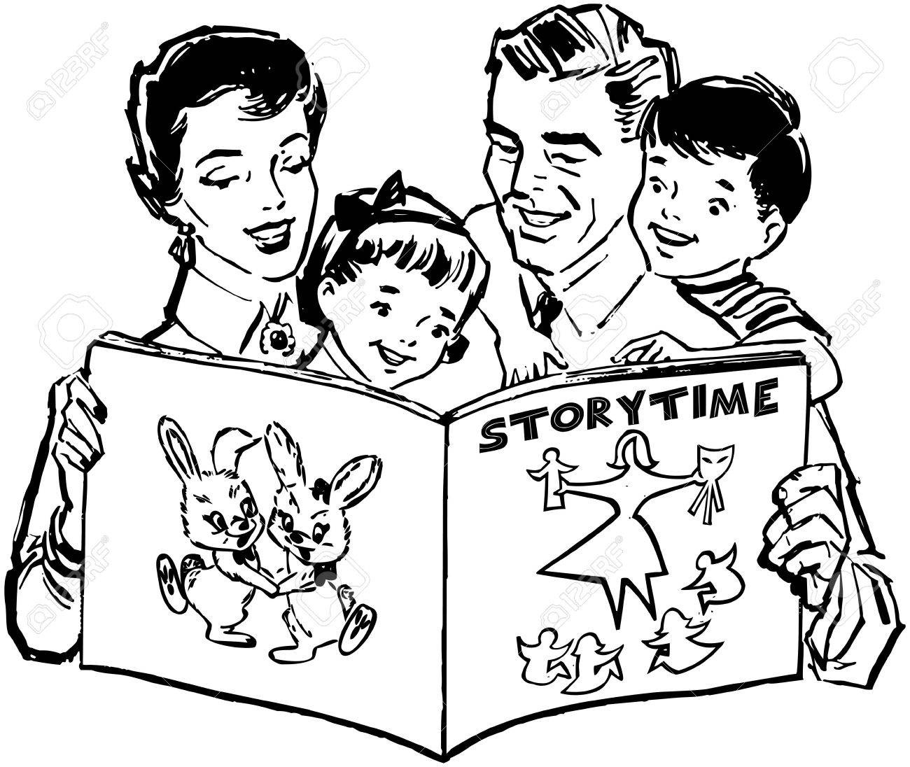 Family reading clipart black and white image free library Reading Clipart Black And White | Great free clipart, silhouette ... image free library