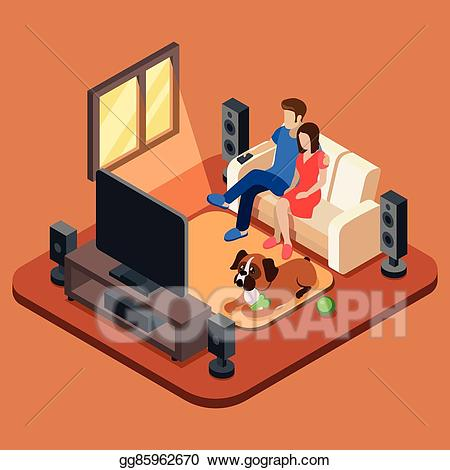 Family room clipart clip Vector Illustration - Family in the living room watching tv. 3d ... clip