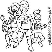 Family running clipart banner black and white library Family Running Clip Art - Royalty Free - GoGraph banner black and white library