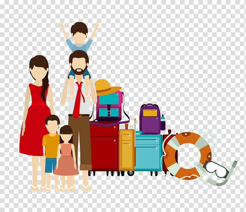 Family travel clipart png free Family and luggage , Family Travel Illustration, family transparent ... png free