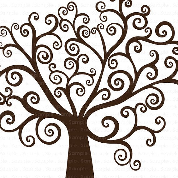 Family tree clipart with curly branches svg clipart freeuse Tree ClipArt, DIY Family Tree Clip Art, Whimsical Wish Tree ... clipart freeuse