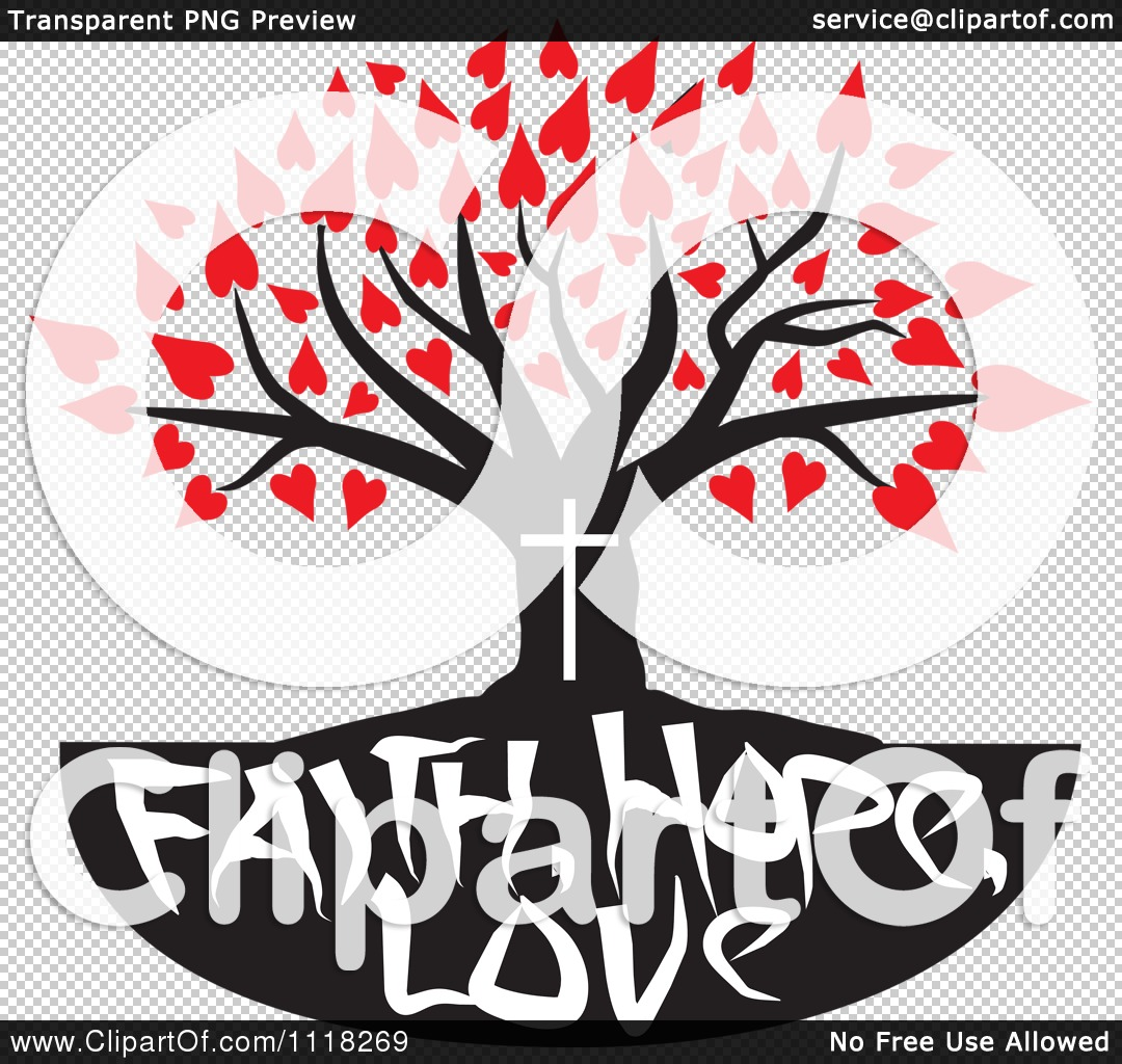 Family tree with hearts clipart image stock Cartoon Of A Christian Family Tree With Faith Hope Love Text And ... image stock