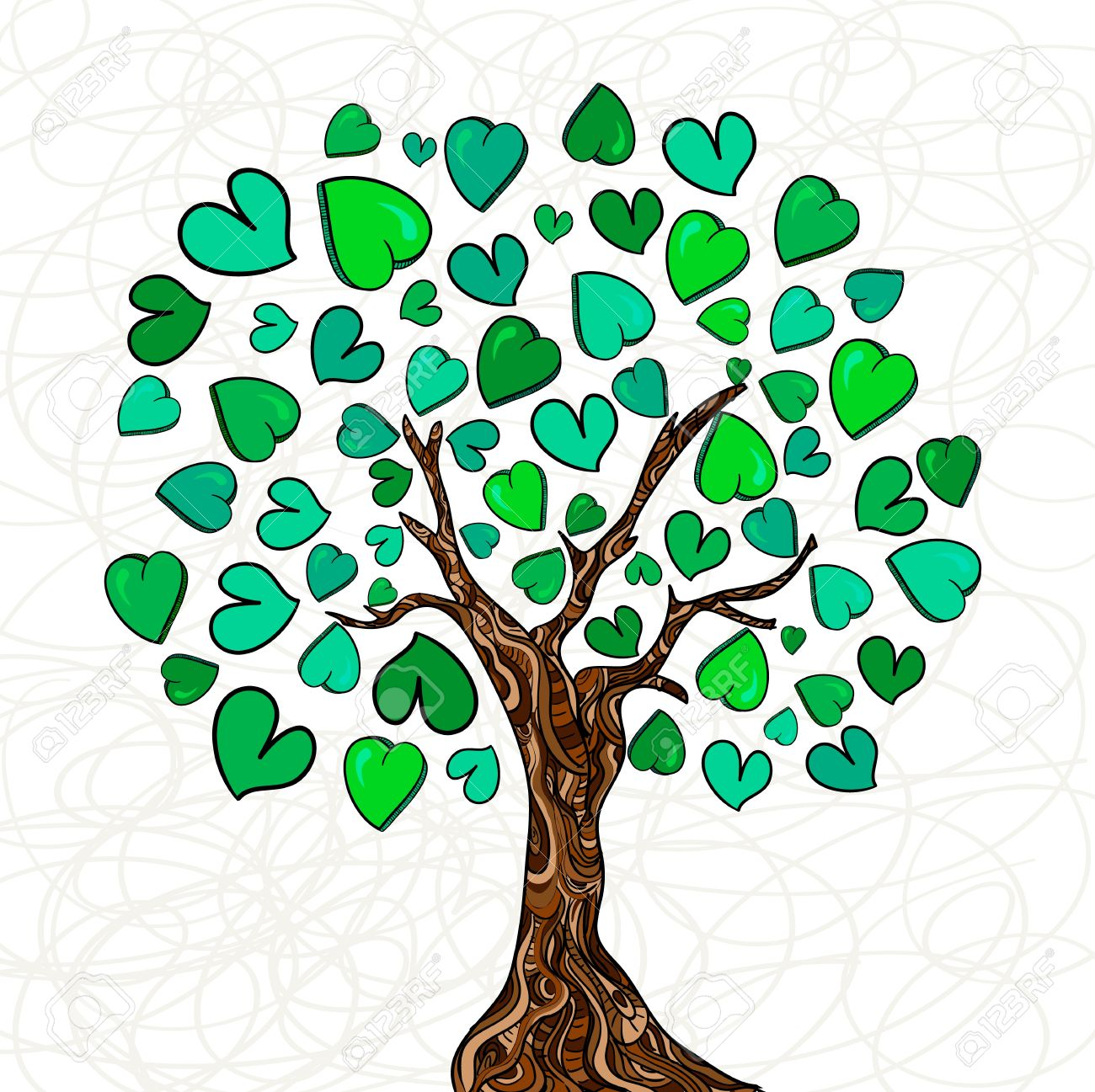 Family tree with hearts clipart black and white Valentine Day Hand-drawn Love Tree Made Of Hearts Background ... black and white
