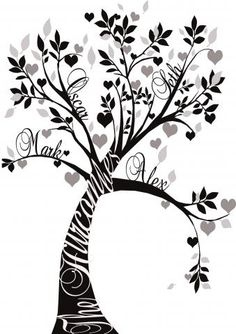 Family tree with hearts clipart banner Personalized Family Tree Canvas Print | Gifts for Family History ... banner