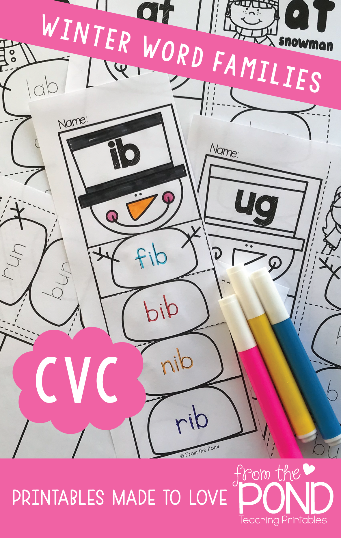 Family winter clipart for writing png freeuse library Winter cvc Activities {Snowman cvc Word Family Worksheets} | New ... png freeuse library