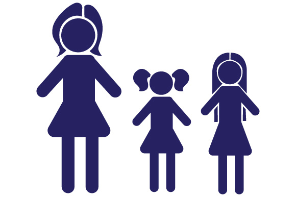 Family with 2 daughters clipart clip art transparent library Family Car Decal Mom and 2 Daughters clip art transparent library