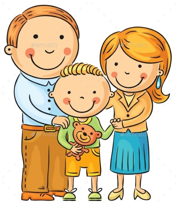 Family with 4 kids clipart all girls banner download Happy Family with a Little Son | deti | Drawing for kids, School ... banner download