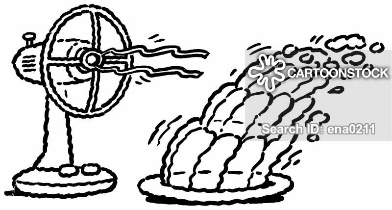 Fan blowing clipart png black and white download Desk Fans Cartoons and Comics - funny pictures from CartoonStock png black and white download