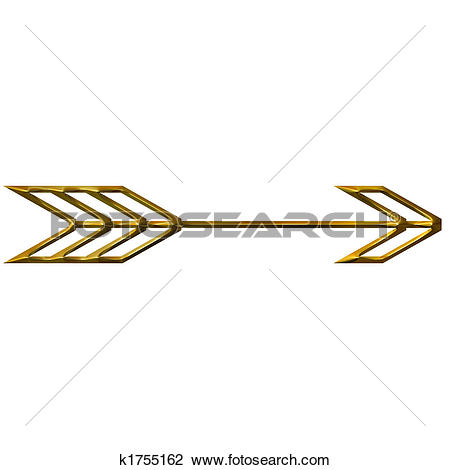 Fancy arrow clipart vector library library Drawing of 3D Golden Arrow k1755643 - Search Clipart, Illustration ... vector library library