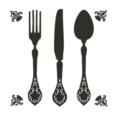 Fancy fork clipart banner library Knife, Fork and Spoon Cutlery Wall Stencil | Black & White Labels ... banner library