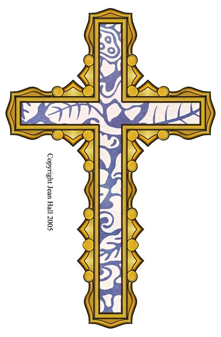 Fancy gold cross clipart png freeuse ArtbyJean - Easter Clip Art: Easter Cross with Wedgewood Blue ... png freeuse