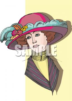 Royalty Free Clipart Image: Victorian Lady Wearing a Fancy Hat jpg black and white