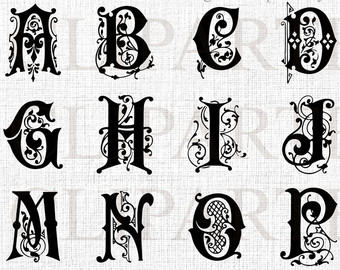 Fancy lettering clipart picture royalty free Ornate letters | Etsy picture royalty free