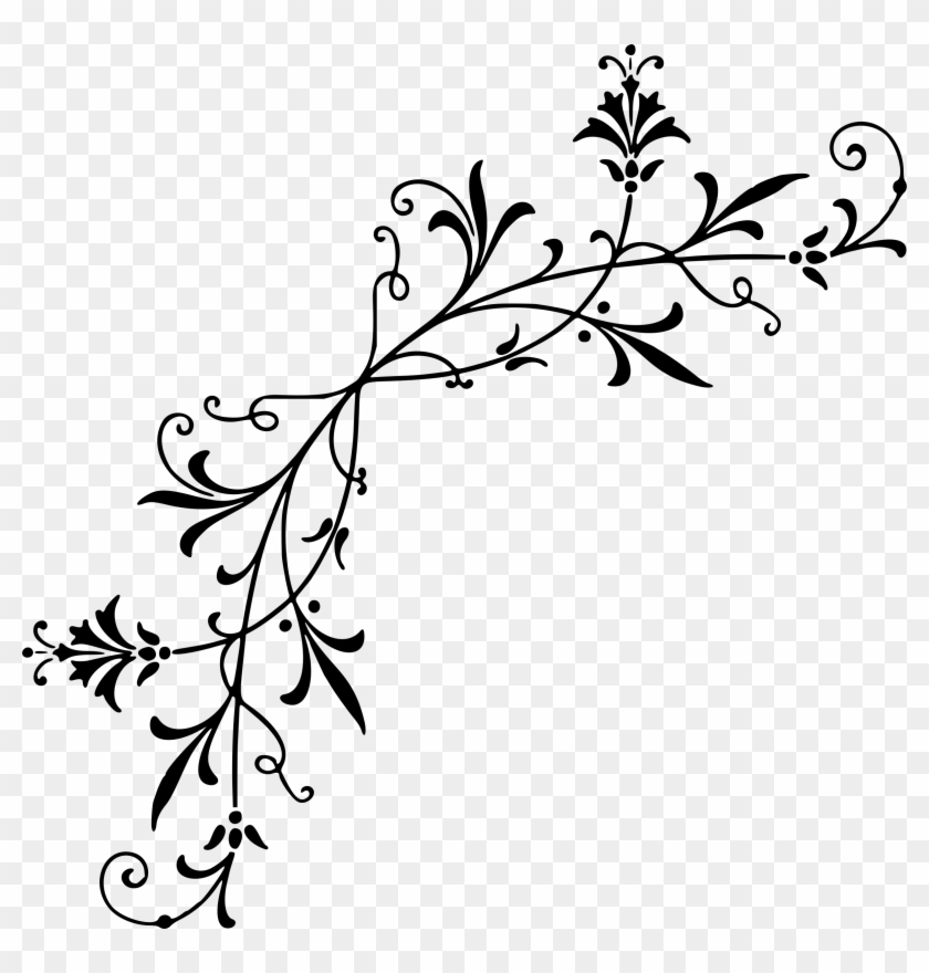 Fancy line clipart black and white graphic download Clipart Corner Decoration 6 Fancy Line Clipart Vector - Black ... graphic download