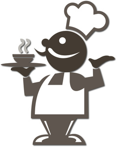 Fancy people clipart vector black and white download Chef Clipart Image - Fancy chef in a fancy restaurant serving a ... vector black and white download
