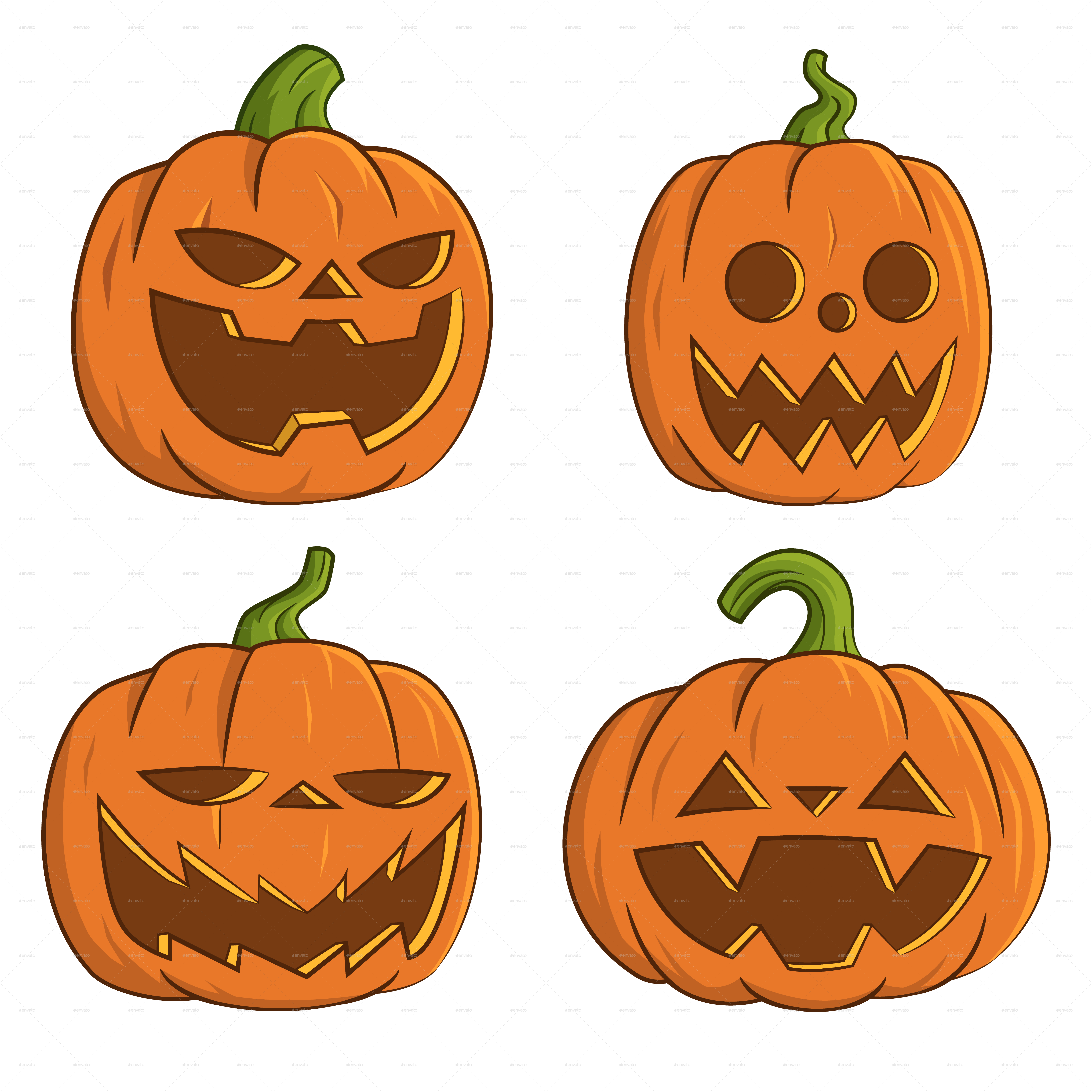 Single pumpkin clipart jpg library library Pumpkins for Halloween by Gatts | GraphicRiver jpg library library