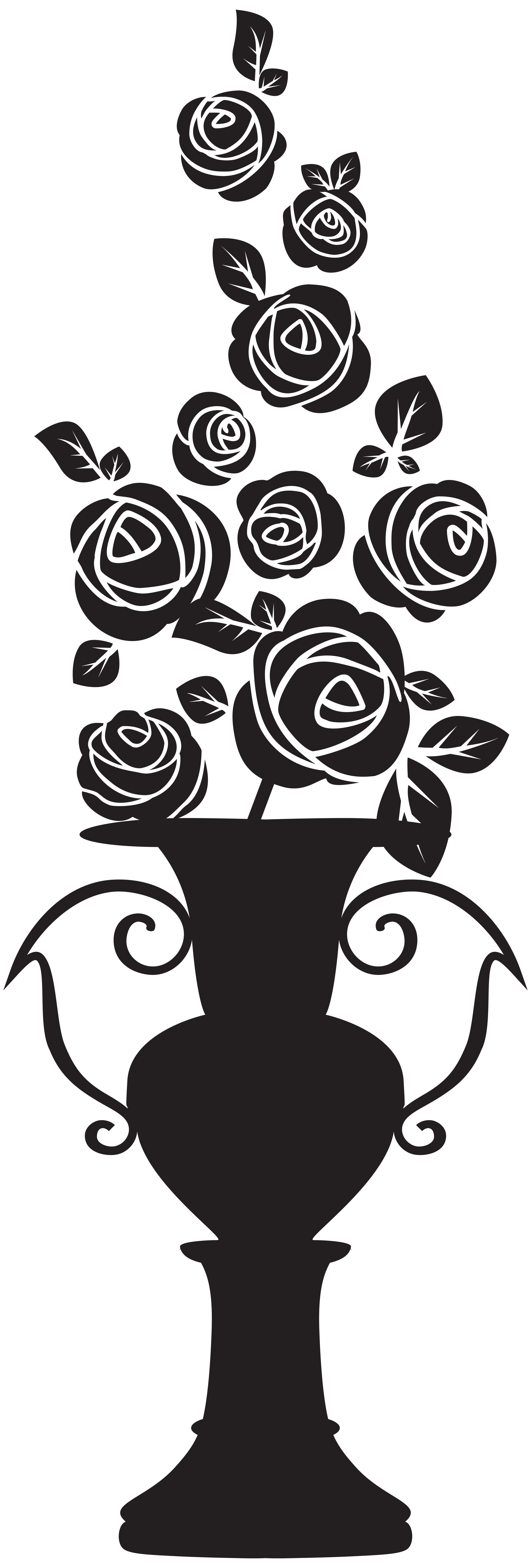 Flower vase clipart black and white banner freeuse download Vase with Roses Silhouette PNG Clip Art Image. View full size ... banner freeuse download