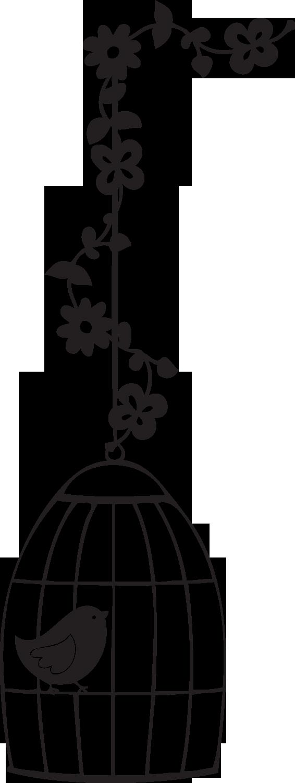Fancypants turkey clipart clip art black and white Silueta jaula de pájaro con flores. Silhouette.   make the cut with ... clip art black and white
